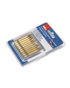 10 pce Pozi No 2 Bits 50mm Titanium Bits
