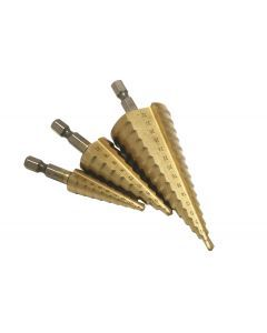 3 pce HSS Step Drill Set