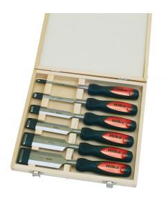 6 pce Wood Chisel Set Clear Grip