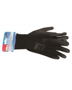 "Large 10"" Black PU Work Gloves"