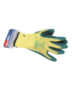 "Small 8"" Green Latex Coated Work Gloves"