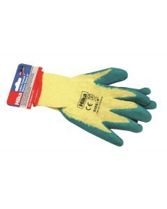 "Medium 9"" Green Latex Coated Work Gloves"