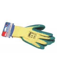 "Large 10"" Green Latex Coated Work Gloves"