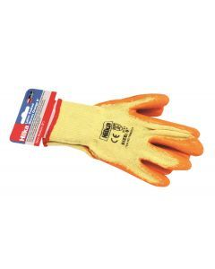 "Medium 9"" Orange Latex Coated Work Gloves"