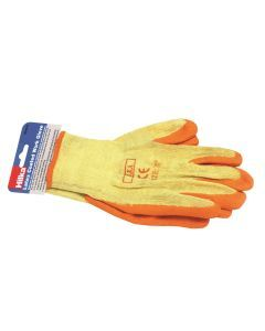 "Large 10"" Orange Latex Coated Work Gloves"