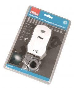 White COB Front Bike Light with Batteries