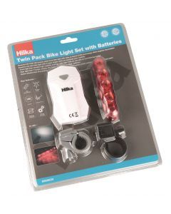Twin Pack Bike Light Set with Batteries
